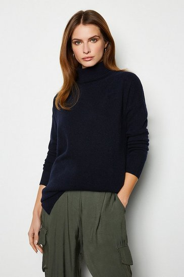Womens Navy Recycled Mix Oversized Jumper