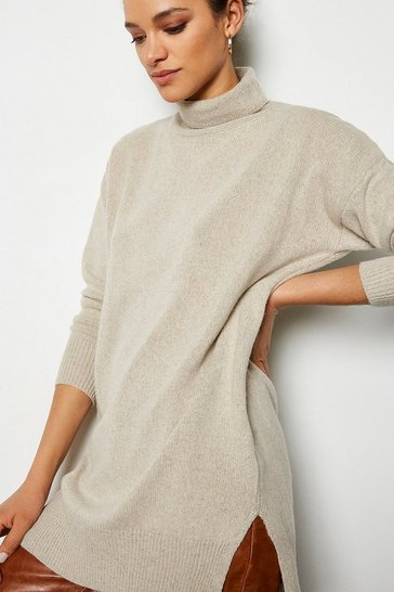 Womens Oatmeal Recycled Mix Oversized Jumper