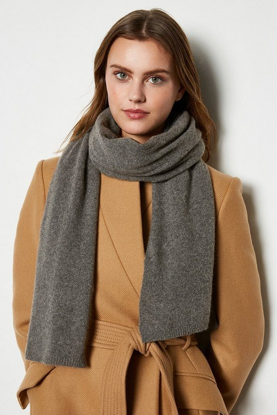 Womens Grey Recycled Cashmere Scarf