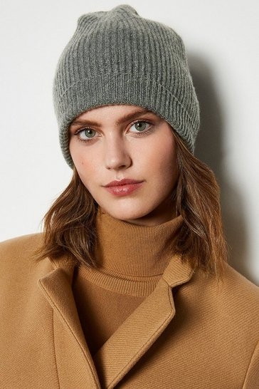 Womens Grey Recycled Cashmere Hat