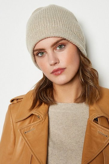 Womens Oatmeal Recycled Cashmere Hat