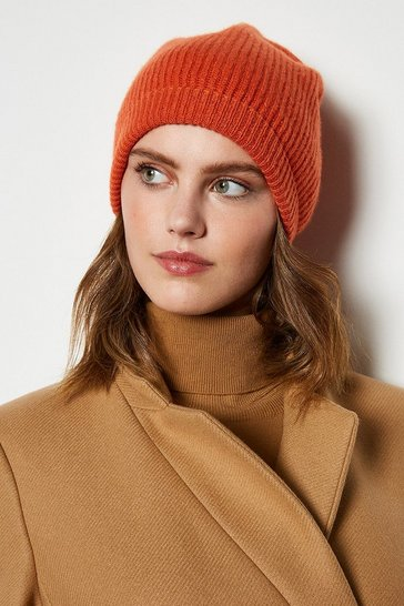 Womens Orange Recycled Cashmere Hat