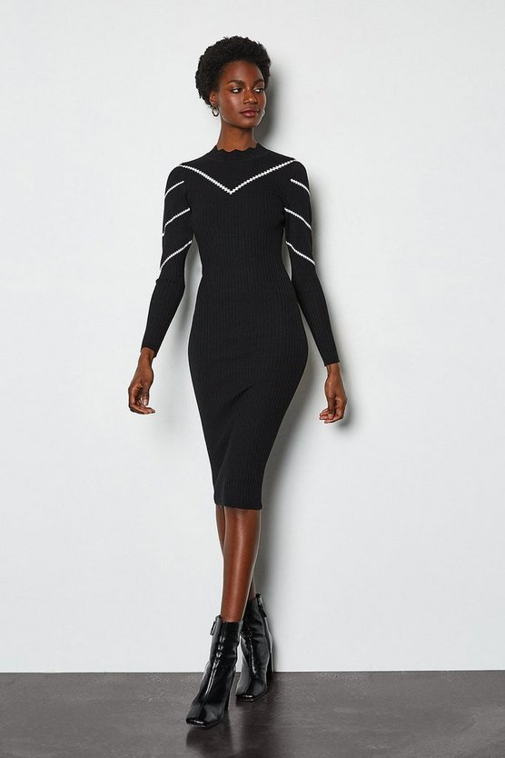 Black Chevron Pointelle Knit Dress