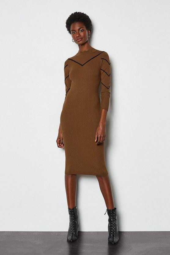 Toffee Pointelle Stripe Knit Dress