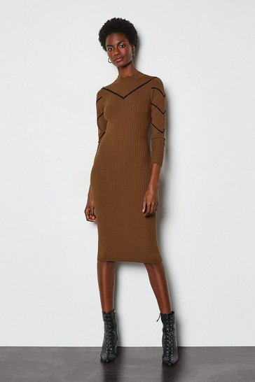 Toffee Chevron Pointelle Knit Dress