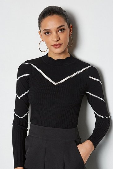 Blackwhite Chevron Long Sleeve Pointelle Jumper