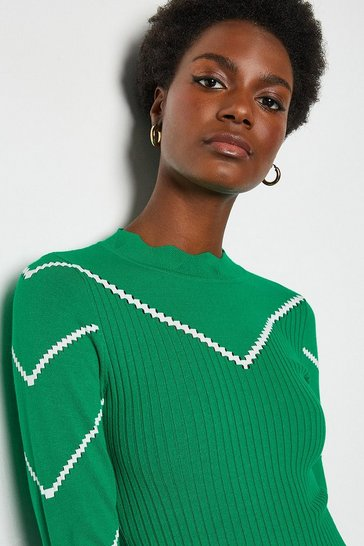 Green Chevron Long Sleeve Pointelle Jumper