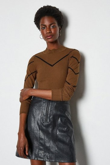 Toffee Chevron Long Sleeve Pointelle Jumper