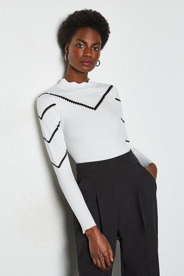White Chevron Long Sleeve Pointelle Jumper