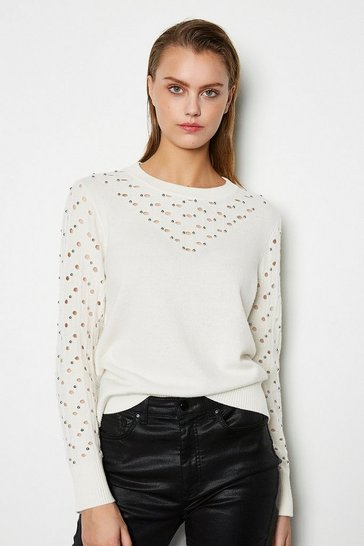 Womens Cream Wool Stud Embellished Jumper
