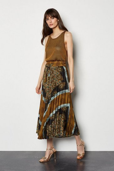 Multi Scarf Print Pleated Skirt