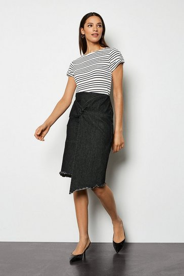 Washed Black Denim Asymmetric Skirt