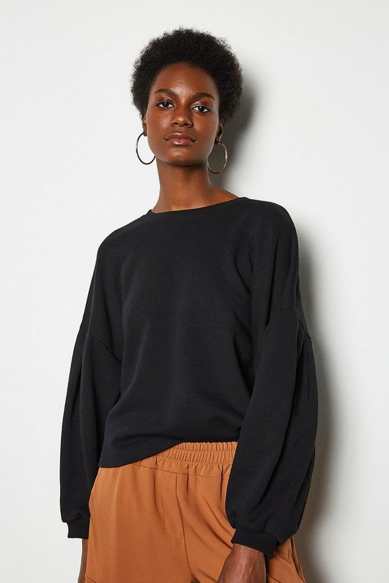 Black Tuck Detail Sweat Shirt