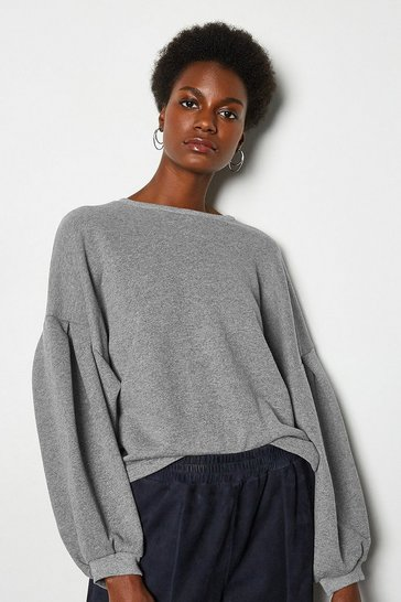 Grey Tuck Detail Sweat Shirt