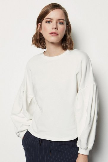 Ivory Tuck Detail Sweat Shirt