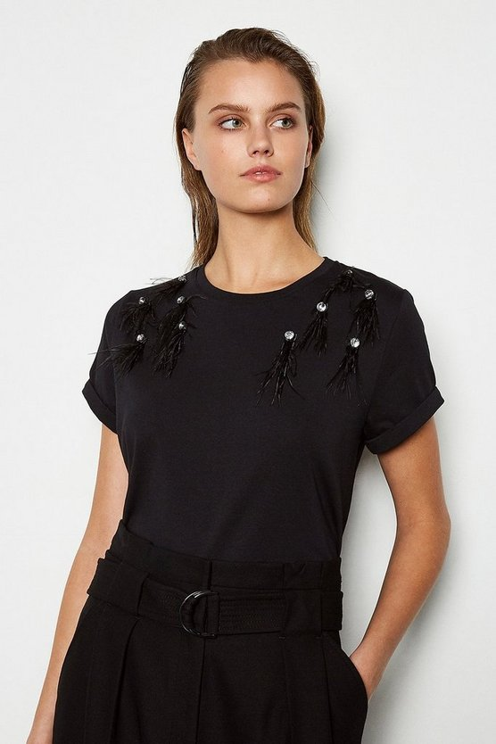 Black Feather Shoulder Detail Tee