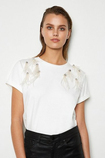 White Feather Shoulder Detail Tee