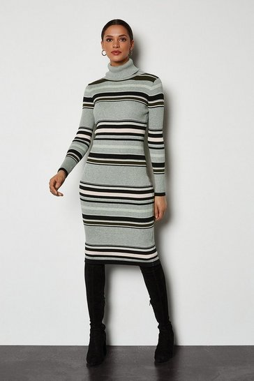 Multi Stripe Bodycon Roll Neck Dress