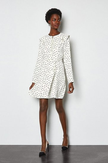 White Graphic Print Ruffle Long Sleeve Short Dress