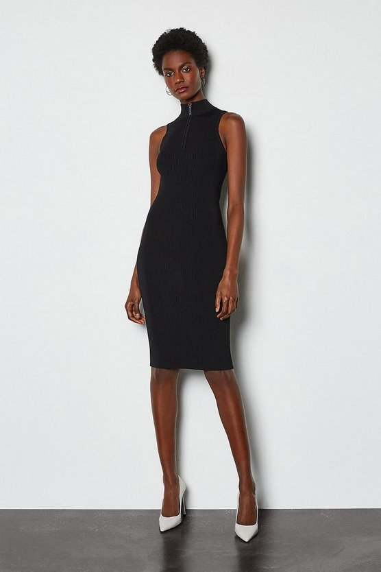 Black Racer Rib Turtle Neck Zip Knit Dress