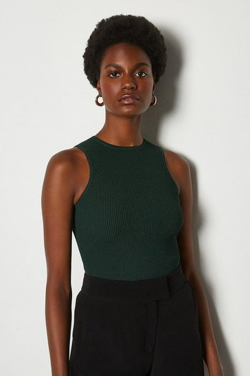 Dark green Racer Rib Knit Top