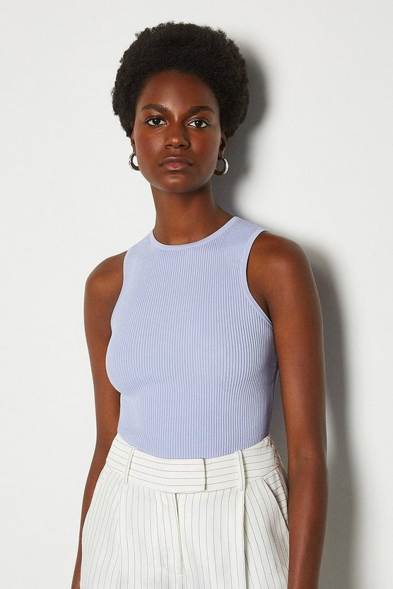 Pale blue Racer Rib Knit Top