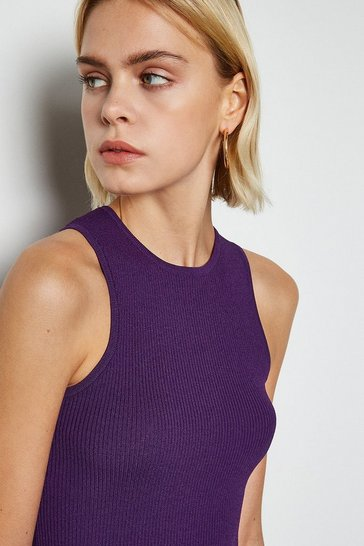 Purple Racer Rib Knit Top