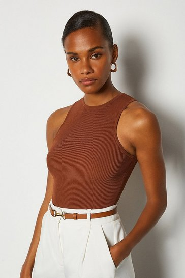 Rust Racer Rib Knit Top