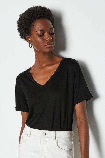 Black Slinky V Neck T-Shirt