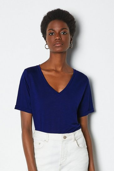 Blue Slinky V Neck T-Shirt