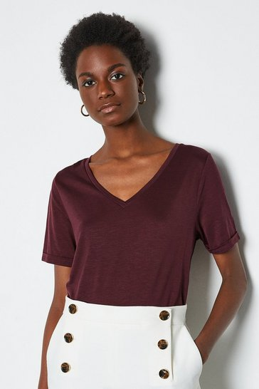 Wine Slinky V Neck T-Shirt