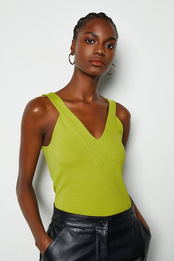 Lime V Neck Trim Jersey Top