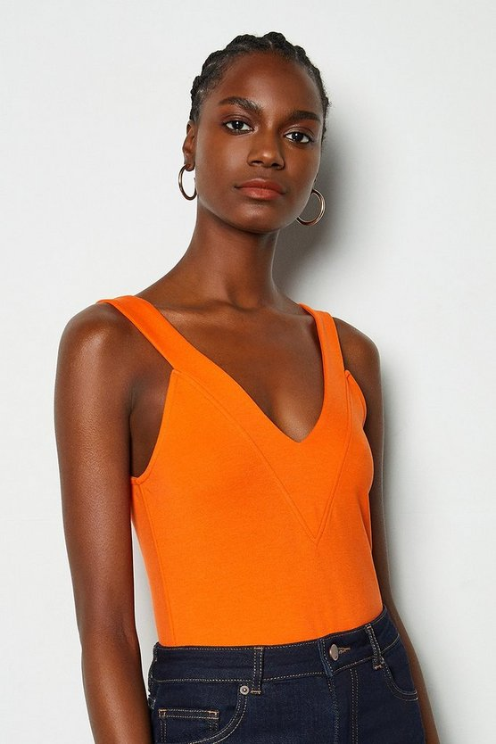 Red orange V Neck Trim Jersey Top