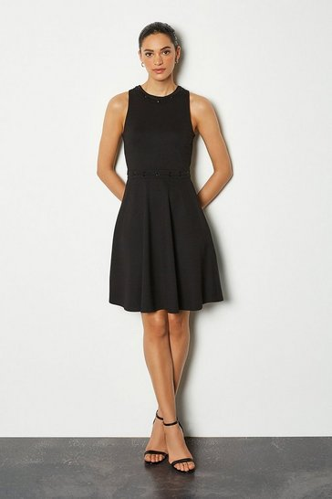 Black Eyelet Lacing Sleeveless Dress