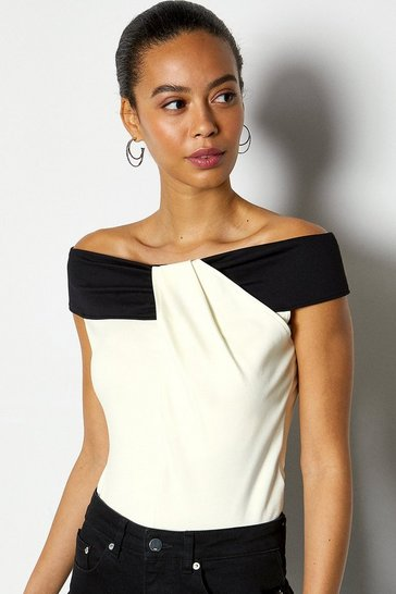 Ivory Colour Block Bardot Twist Jersey Top