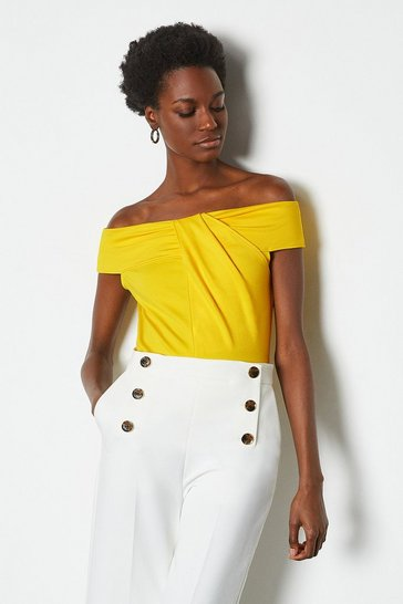 Lemon Colour Block Bardot Twist Jersey Top