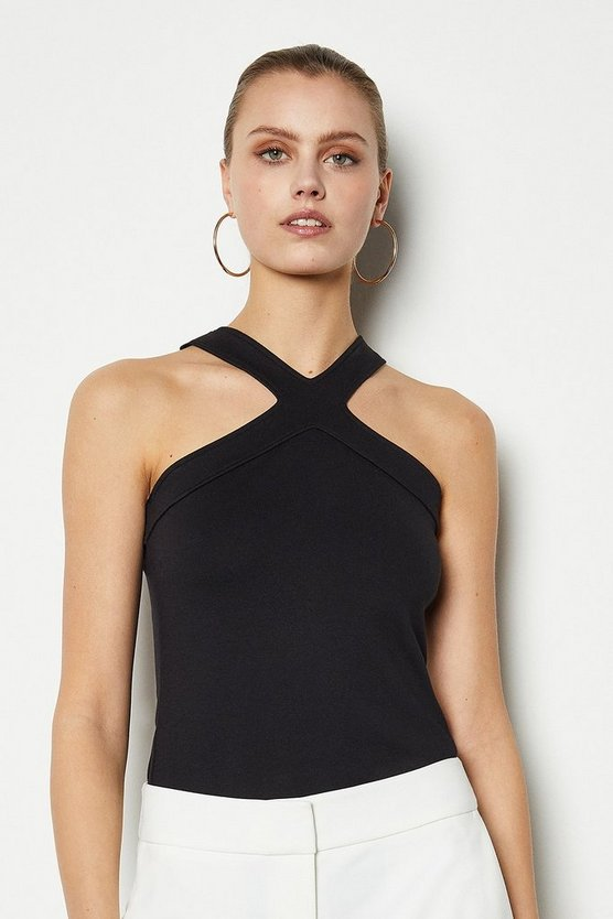 Black Skinny Cross Neck Jersey Top