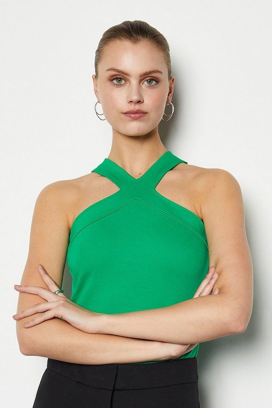 Green Skinny Cross Neck Jersey Top