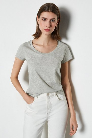 Grey marl Scoop Neck Short Sleeve T-Shirt