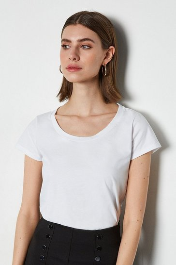 White Scoop Neck Short Sleeve T-Shirt