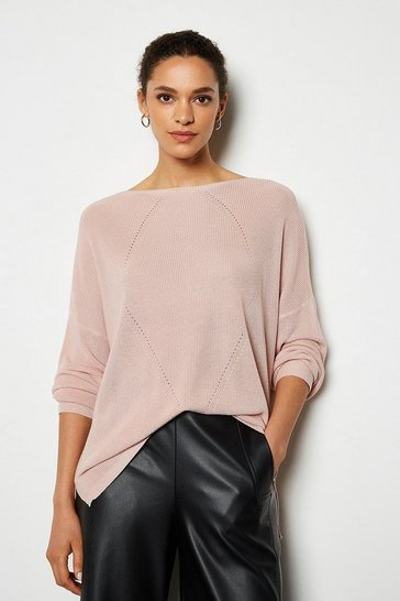 Rose Stitch Detail Oversize Cable Rib Jumper