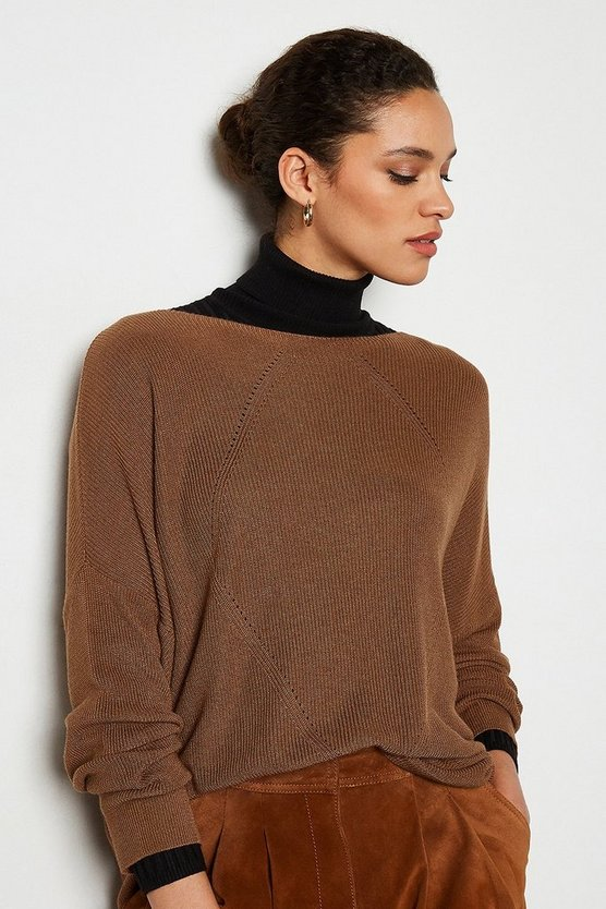 Taupe Stitch Detail Oversize Cable Rib Jumper