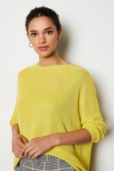 Yellow Stitch Detail Oversize Cable Rib Jumper
