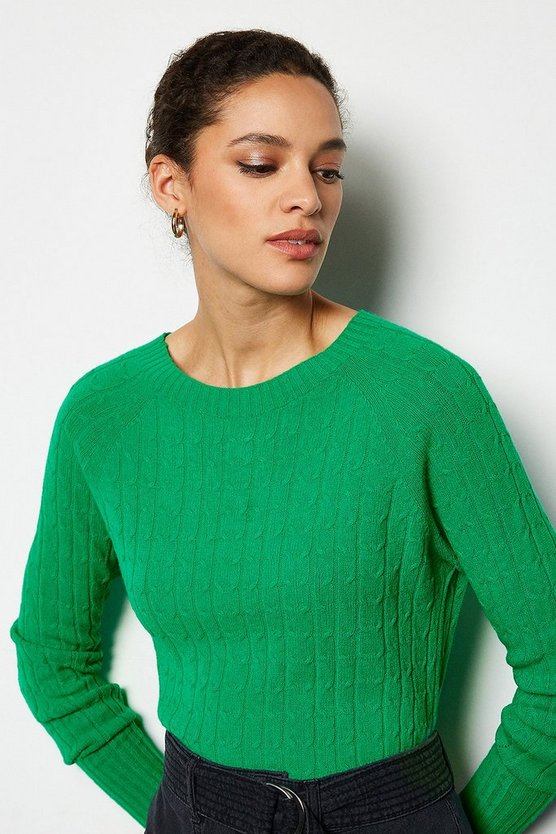 Green Cable Knit Crew Neck Jumper