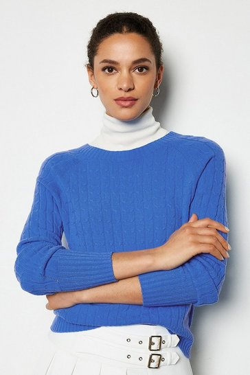 Light blue Cable Knit Crew Neck Jumper