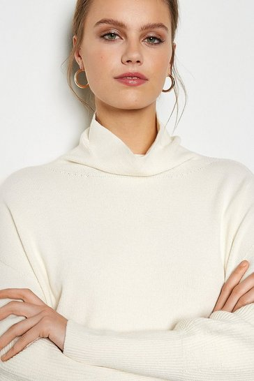 White Longline Balloon Sleeve Roll Neck Jumper