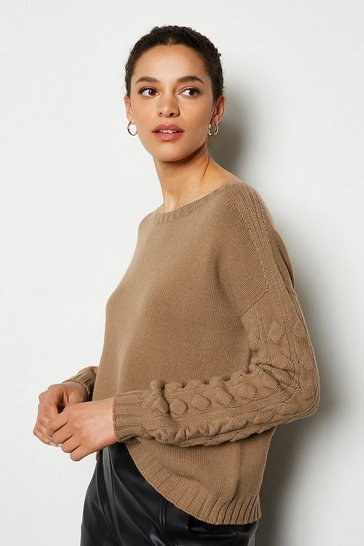 Brown Stitch Detail Crew Neck Long Sleeve Jumper
