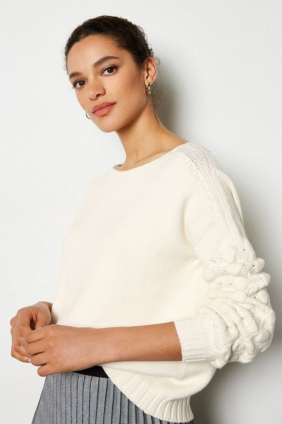 White Stitch Detail Crew Neck Long Sleeve Jumper