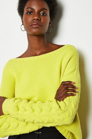 Yellow Stitch Detail Crew Neck Long Sleeve Jumper