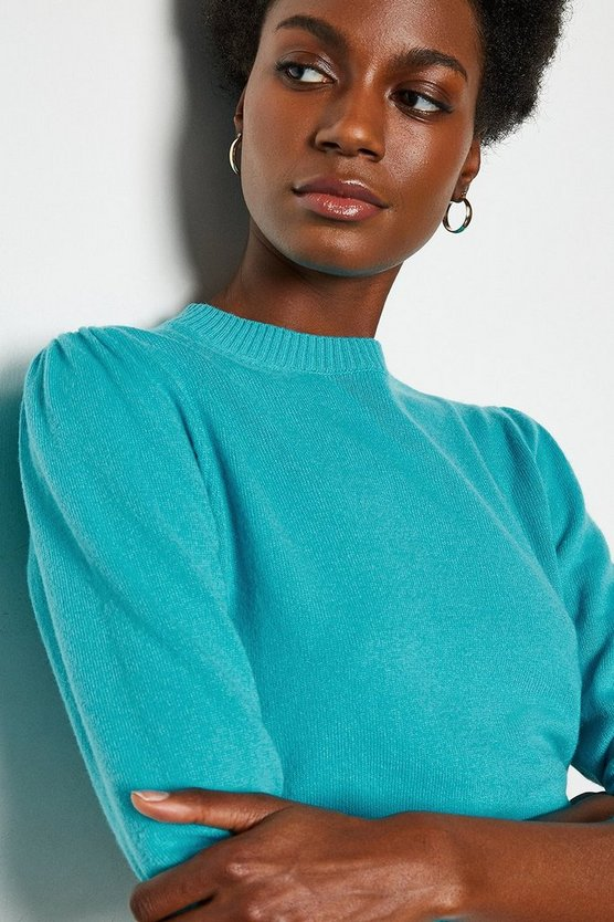 Aqua Cashmere Mix Puff Sleeve Crew Neck Jumper